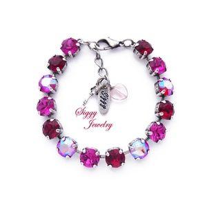 Swarovski Crystal Pink and Red Shimmer Bracelet